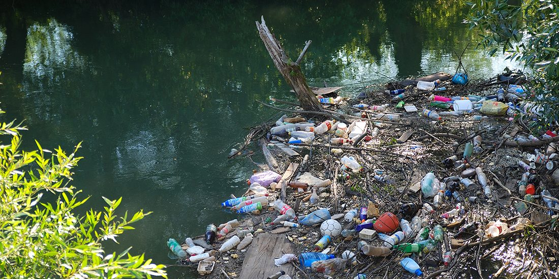 river with rubbish